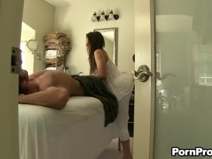 Fabulous rookie massages a hung stud before riding his fat shaft