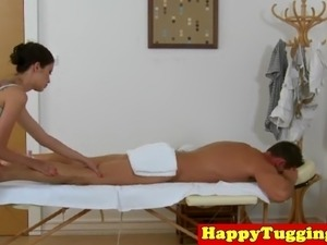 Tattooed asian masseuse with bigtits jerks
