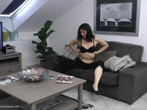 Mature lesbian getting cozy on sofa then getting licked lovely