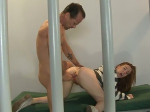 Red haired caged hottie Kierra Wilde got her fanny nailed in various...