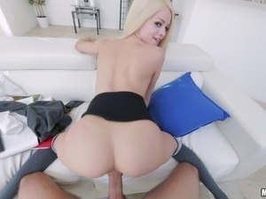 Skinny blonde licking balls then punished hardcore