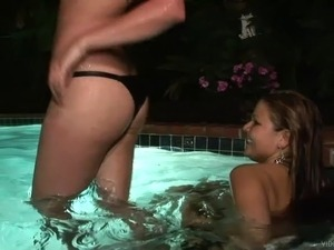 Drunk lesbian coeds in bikinis gets wild Outdoor in the pool