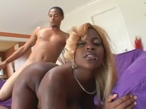 Big black mommy with juicy boobs gets doggy fucked rough