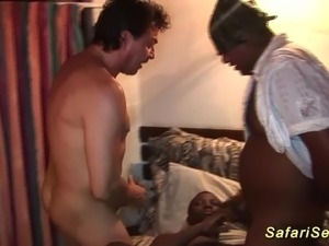 Big natural breast african babe picked up for hot safari fuck orgy