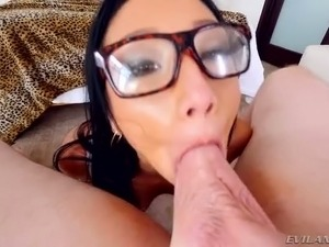 Hot tempered Asian slut in glasses Vicki Chase gives a head on POV video