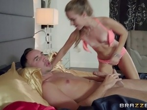 Sexy small tits babe screaming while her shaved pussy gets smashed