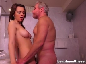 Teen babe sneaks into the bathroom to get fucked by an old man