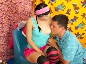 Teenyplayground - Cute pig tails young babe love eat cum