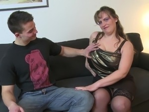 Young boy fucks busty mature mother