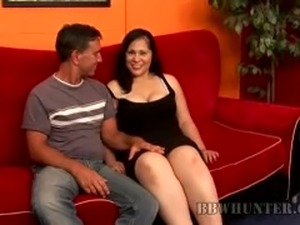 Chubby brunette vixen with milky juggs and big ass gives blowjob