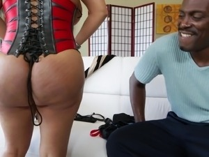 Kiara Mia gets cum on her huge tits after interracial sex