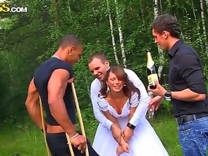 Tanned petite young looking brunette Madelyn with tight ass in white wedding...