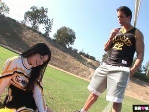 Gorgeous cheerleader fucked damn hard in a doggy position