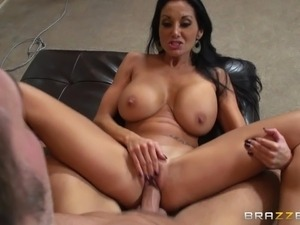 Sexy Brunette Cougar With Massive Tits Enjoying A Hardcore Fuck On Her Sofa