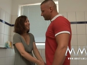 Feverish macho doggy attacked lusty dark haired cutie in bathroom