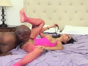 Buxom brunette in sexy pink lingerie fulfills her interracial desires
