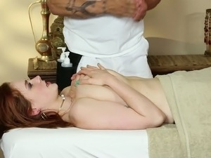 Curvy redhead with natural tits gets massaged then face fucked hardcore