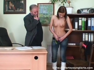High-heeled whore with long dark hair getting her pussy licked by an old man