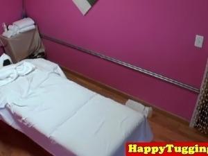 Asian masseuse pussypounded on massage table