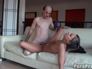 Long hair young brunette yells when throbbed hardcore doggystyle