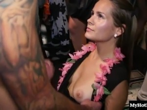 Long hair brunette ravished hardcore till getting facial cumshot in party