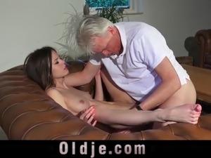 Grandpa Pussy Fucking Teen Pierced Tongue Facial Cum