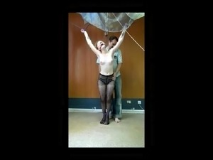 Dyke tied and teased by man.
