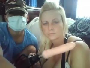 Busty Blonde Milf suck cock on cam