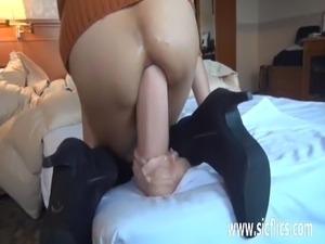 Giant anal dildo fucking Asian amateur milf