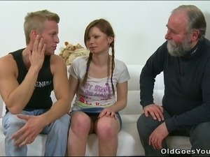 Pretty chick with pigtails meets her BF's grandpa and gets her boobs sucked
