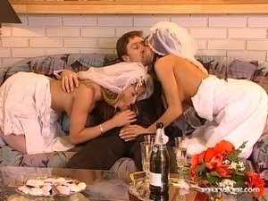 A couple of fuck hungry sweet brides enjoy steamy 3 some with one lucky groom...