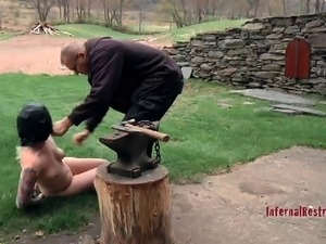 Tattooed nice ass bondage slave getting exposed lovely in BDSM