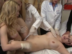 Lesbian doctors finger and fondle a patient to a huge climax