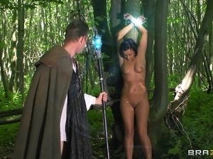 He discovers a naked girl in the woods and fucks her with his big cock