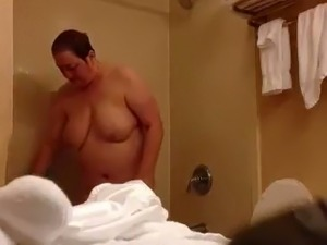 BBW mature neighbour got caught on a hidden camera in the bathroom