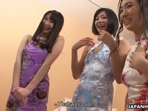 Charming Japanese cutie Sanae Momoi and her sexy friends love sex toys