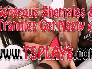 Black big tits shemale toying her asshole while jerking