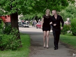 Fantastic blondie in black dress hooks up with a guy and goes with him