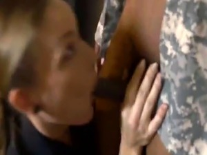 Female cops arrest some fake soldier and take him to some basement to