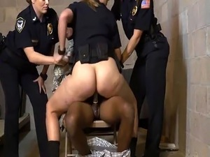 Female police officers use fake soldier as a fuck toy