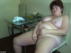 OldNanny Old fat grandma and cute girl use big double dildo