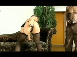 Insatiable blonde milf in stockings loves black cock and rough anal sex