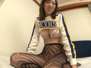 Lingerie clad Japanese cheerleader blowing a stiff pecker hardcore