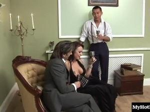 Horny babes are happy to bend over for a couple of hard dongs