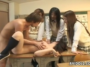 Sassy Japanese student is fucked doggy style in front of her coeds