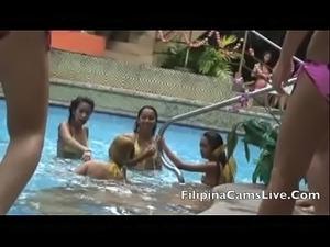 Asian webcam Bar girls Angeles City GOGO bikini pool party