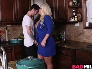 Hot kitchen 3some sex with Dolly and Alura