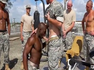 Soldiers excercise and take the horny heat indoors