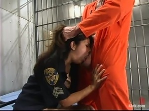 Sexy police officer is riding the prisoner's hard cock