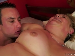 Hairy cunt of horny fat ass granny Sonya is nailed missionary style